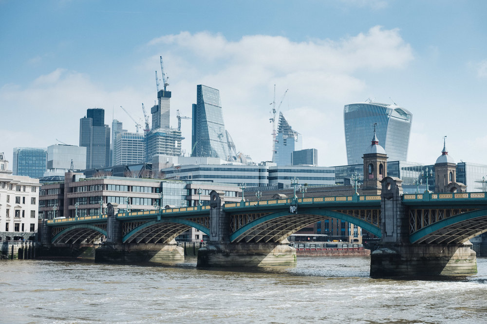 The skyline of the City of London financial district