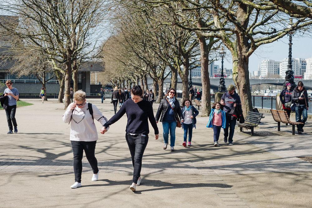 People walking along the Southbank walk in London