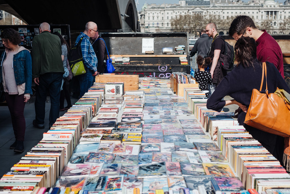 Second hand book market in London's Southbank