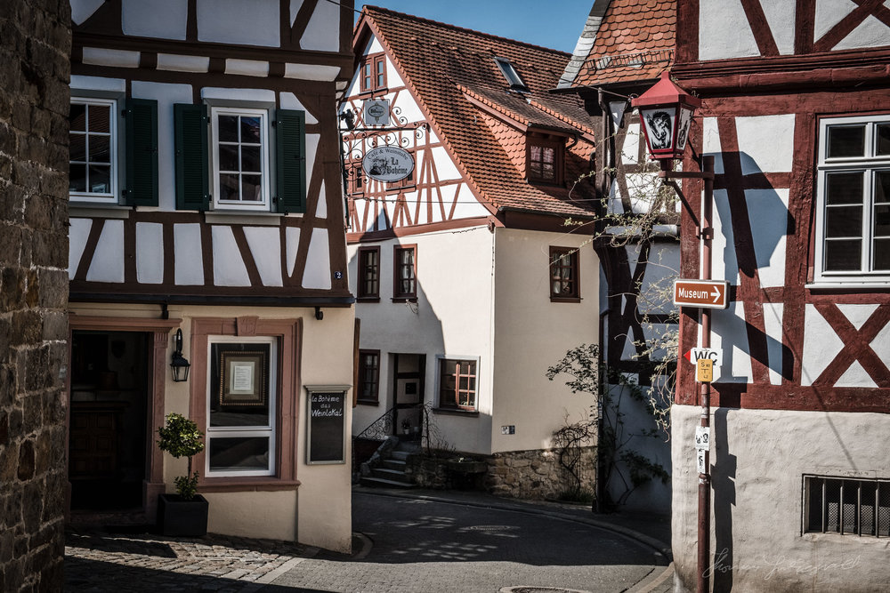 Medieval streets of the old town in Heppenheim, Germany