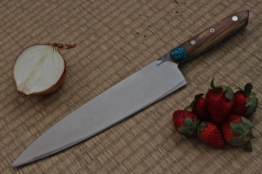 "9 1/2"" Custom Chef knife Turquoise bolster, Olive wood handle. My First left handed thumb dimple."