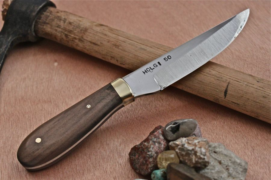 "Hunter with Brass bolster in Walnut wood, 1/8"" brass pin, 1/8"" mosaic pin."