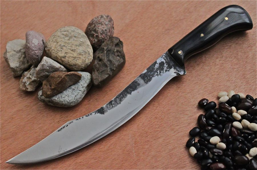 "7"" Fantasy Hunter in 1084 Steel, buffed forge finish, Water Buffalo Horn Handle, 3- 1/8"" brass pins."