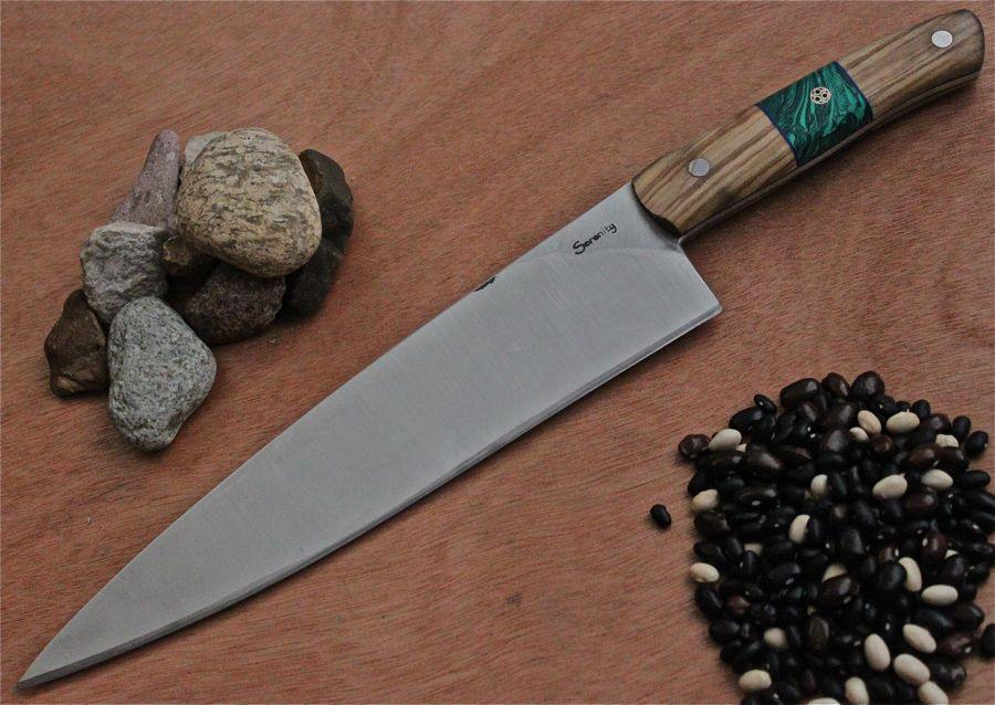 Japanese White Steel #1 Chef's Knife with Malachite Interrupted Olive wood handle.