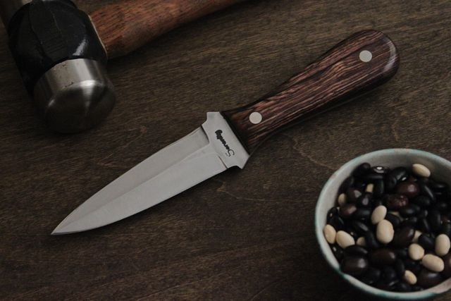"1084 Steel Boot dagger, 4"" blade with 4"" handle. Cocobolo handle."