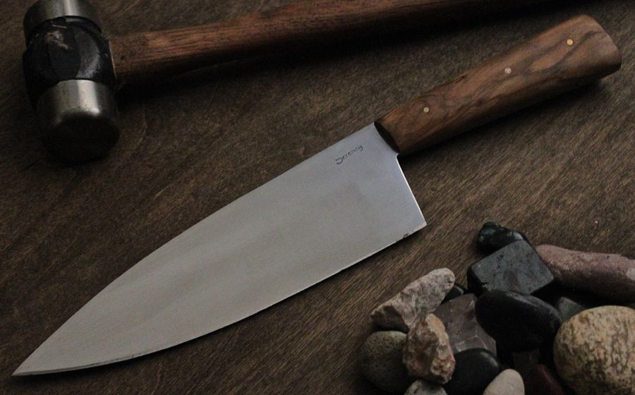 Custom Chef's Knife 13C26 stainless steel with Olive wood handle.