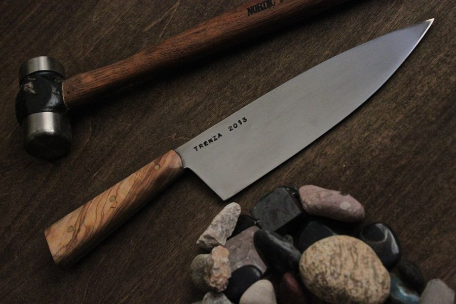 Custom Chef's knife for a restaurant opening next week. 52100 steel with Olive wood.