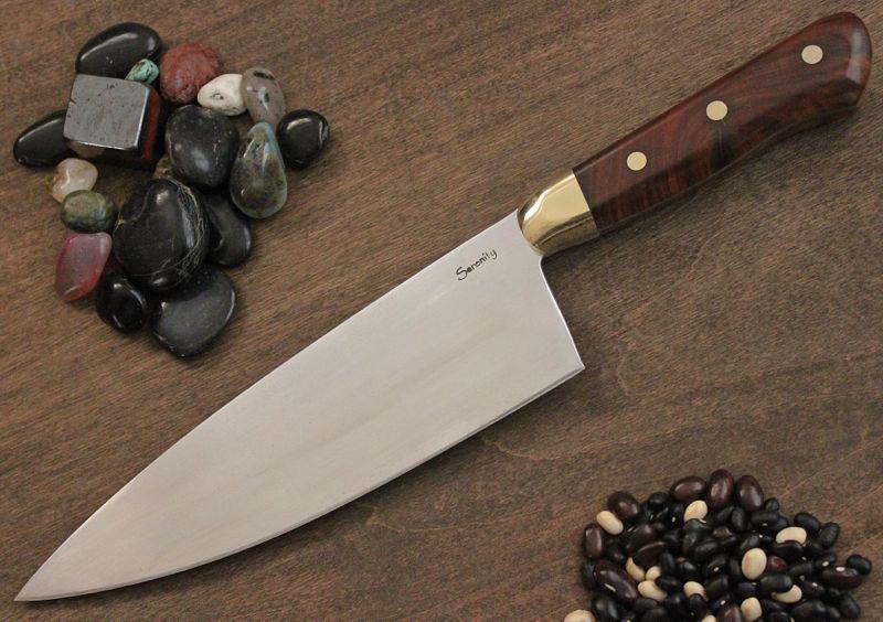 European Chef knife in Lignum Vitae and Brass Bolster.