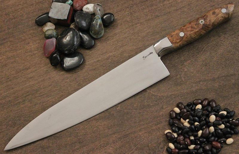 French Style Chef with 304 Stainless Bolster and Black Ash Burl handle.