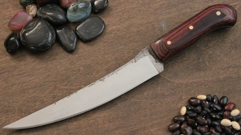 "Traditional Boning knife in Dymondwood and 1/8"" brass pins."