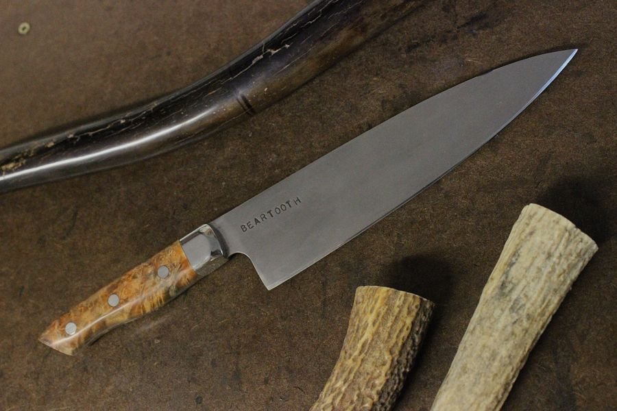"8"" French Style Chef with 304 bolster and Copper Black Ash Burl."
