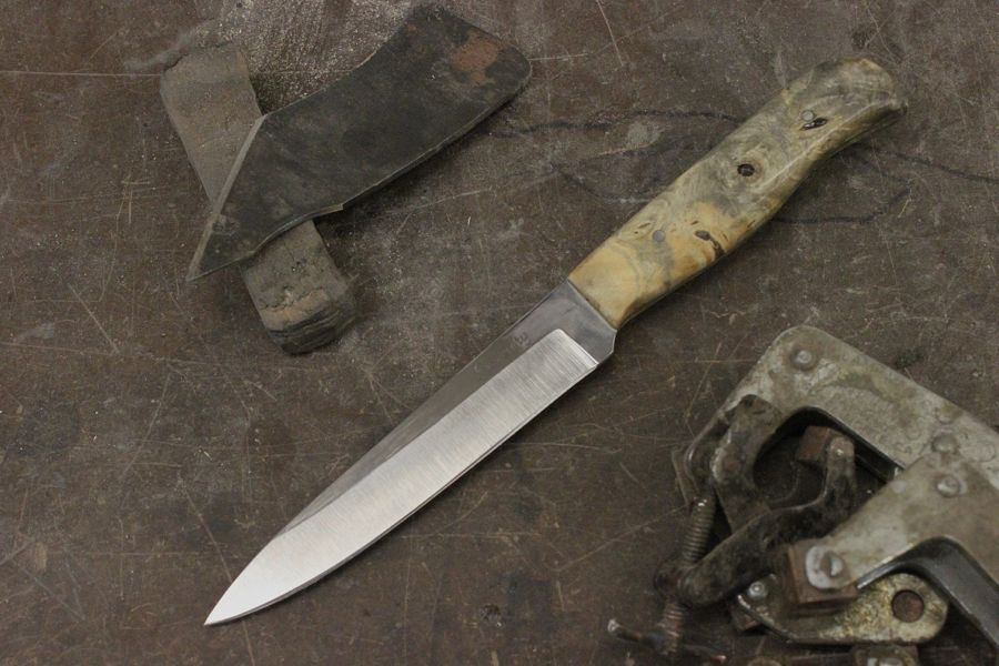 Paring knife in CPM154CM steel with California Buckeye burl handle