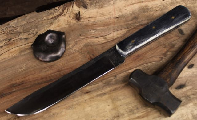 "Black/Grey Camel Bone Slicer: 52100 high carbon steel, buffed forged finish, stabilized Black/Grey camel bone  handle, 3- 1/8"" brass  pins .  Length: 7"" Depth: 1   1/16"" Thickness: 1/8"" Handle Thickness: 5/8"""