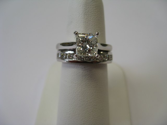 Wedding set on ring finger
