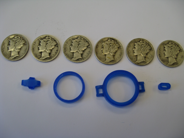 Wax mold and coins
