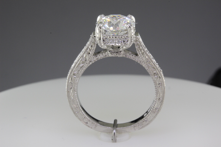 Side view of finished engagement ring