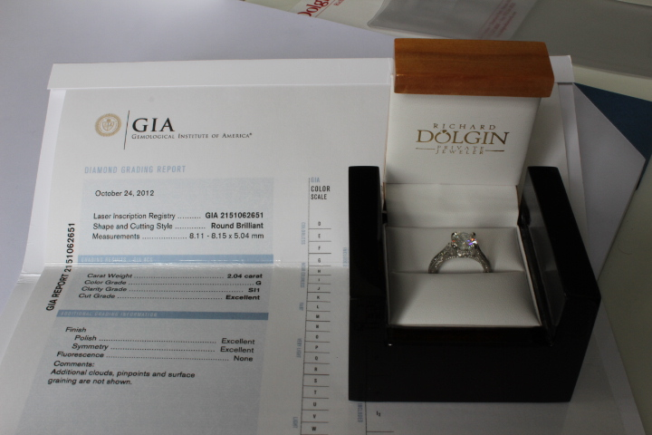 GIA certificate and engagement ring