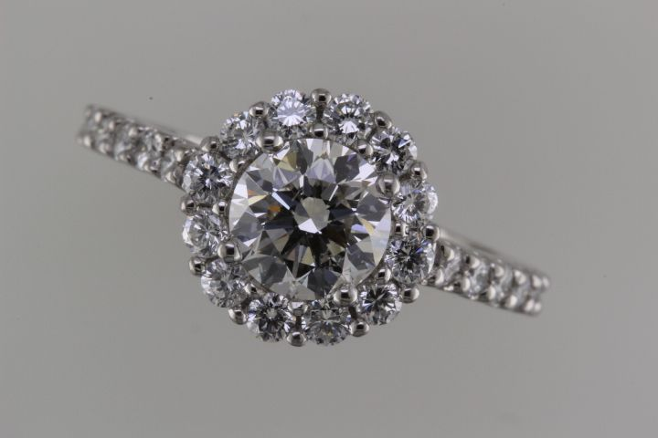 Custom halo engagement ring - top view