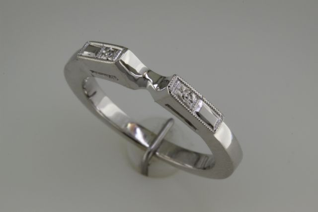 14 carat white gold custom made matching shadow band.