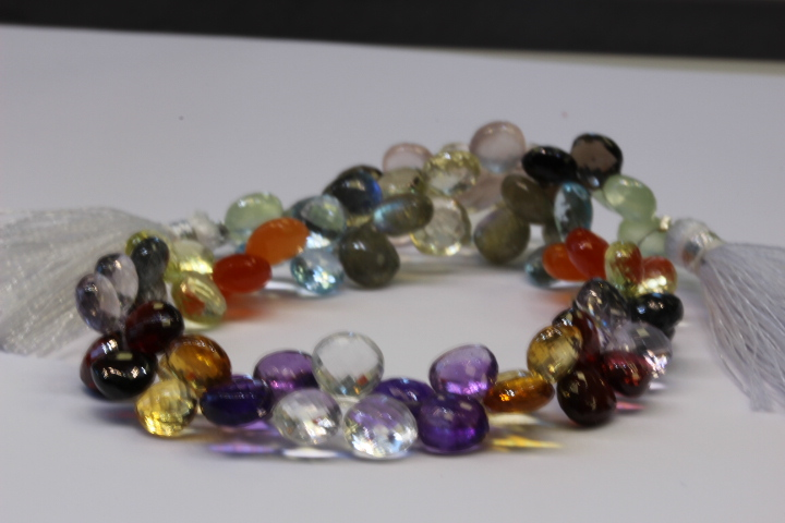 Assortment of pear shaped gemstones