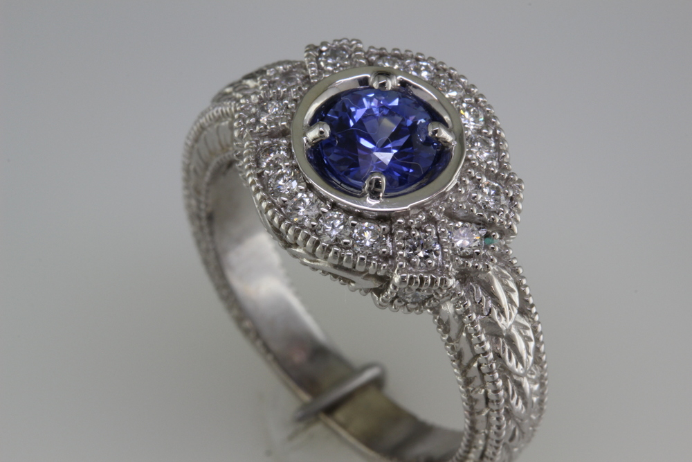 Sapphire and Diamond Antique Style.JPG