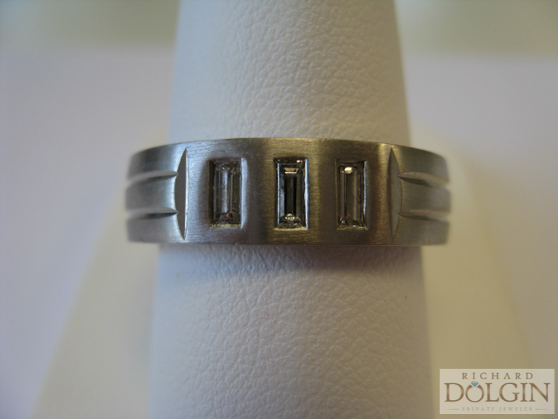Three Baguette Wedding Band