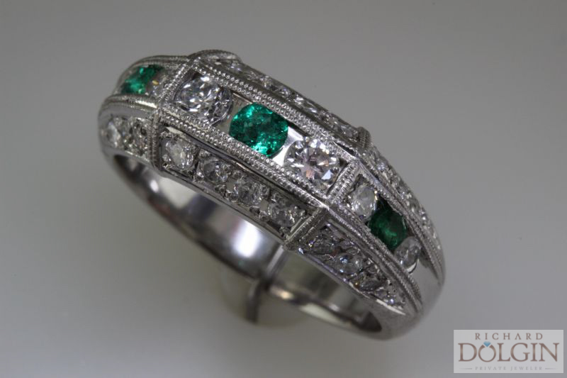Platinum, diamond, and emerald band