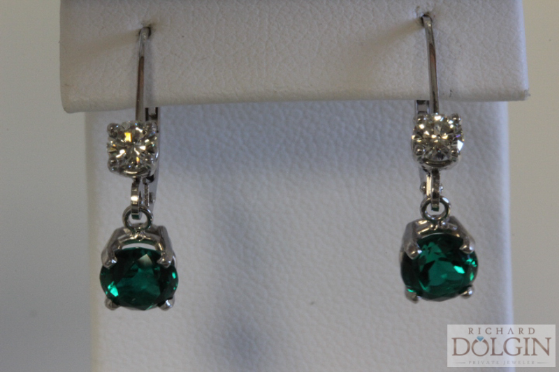 Custom emerald dangle earrings