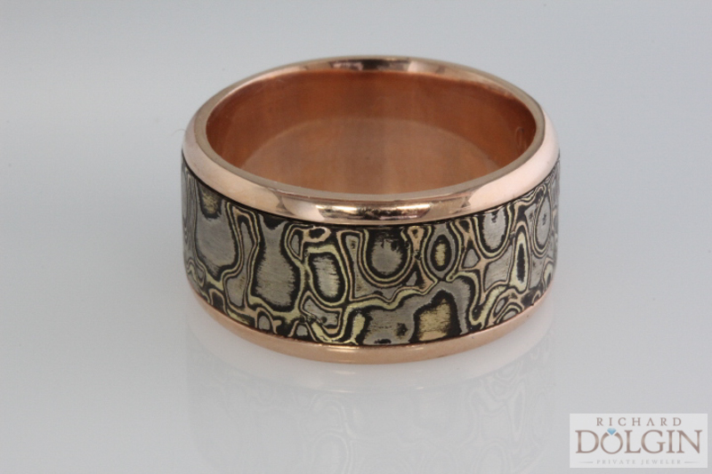 18k pink gold and mokume