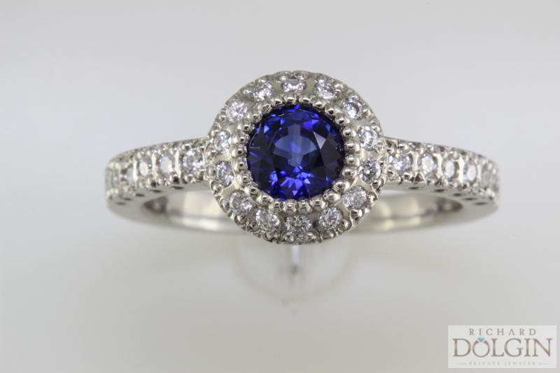 Round Sapphire Set in Platinum
