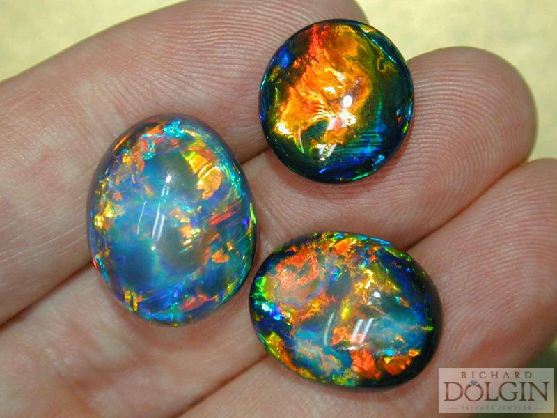 Assortment of black opals
