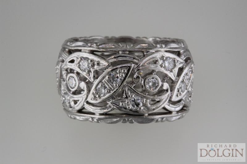 Platinum antique wedding band