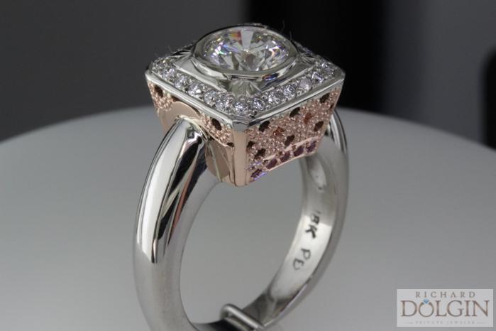 Rose Gold and Palladium Diamond Ring