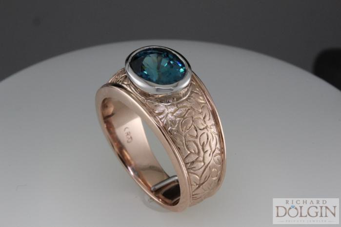 Blue zircon in rose gold