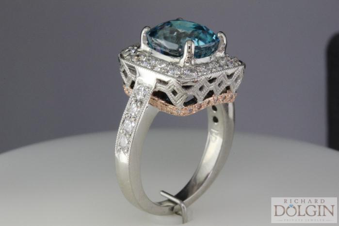 Elegant blue zircon ring