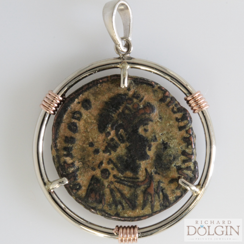 Ancient Bronze Coin Pendant - Obverse View