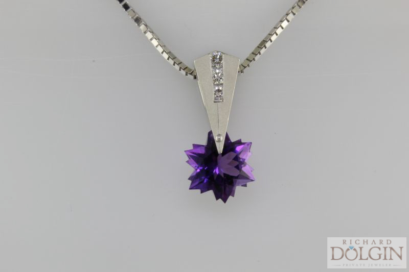 Fantasty Cut Amethyst and Diamond Pendant