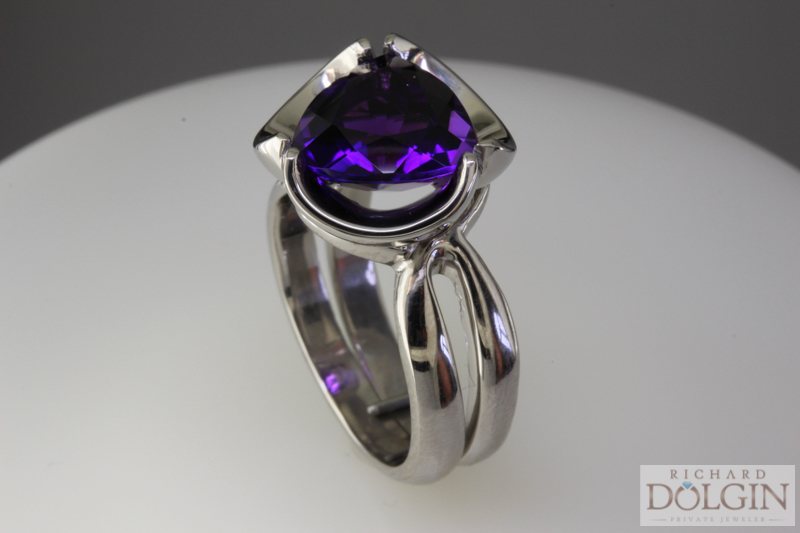 Trillion Shape Amethyst Ring