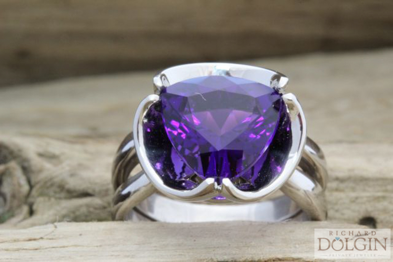 Trillion Amethyst Ring