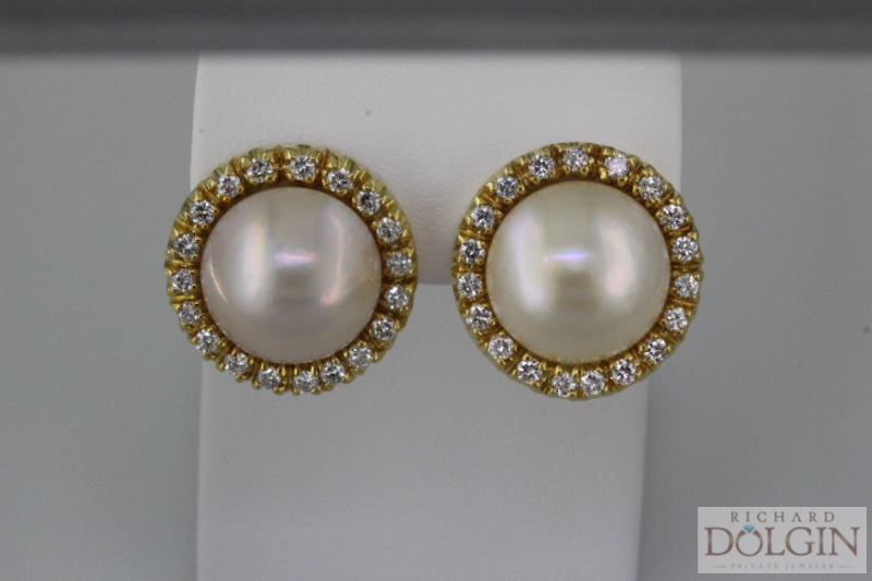 Classic Pearl and Diamond Earrings