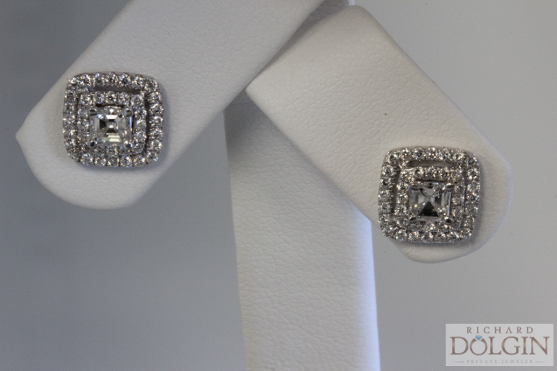 Ascher Cut Diamond Earrings