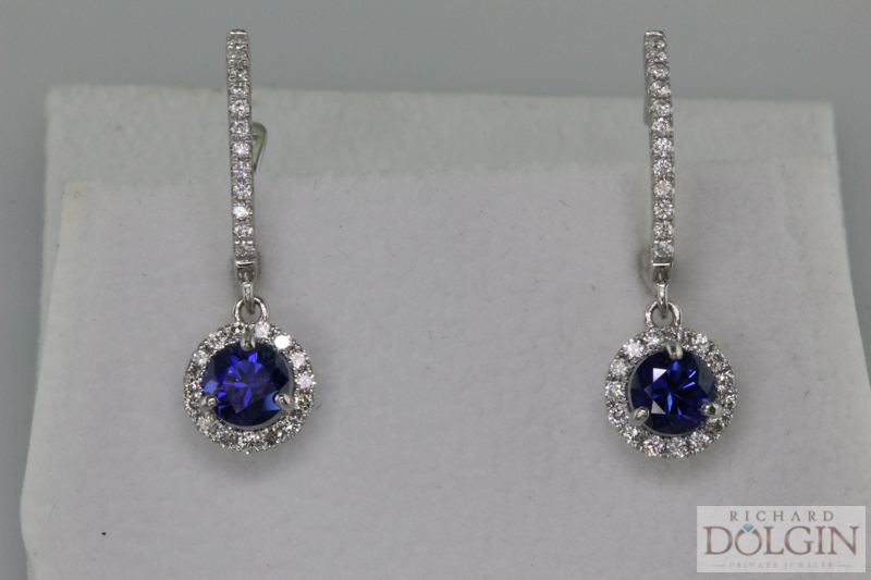 Ceylong Sapphire and Diamond Earrings