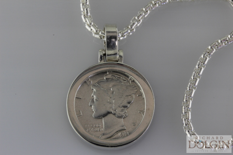 Mercury Dime Custom Made Pendant