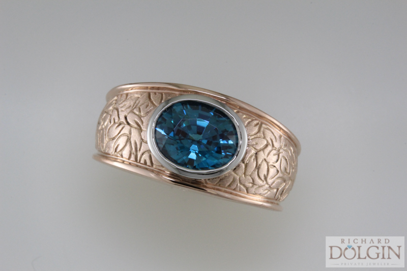 Blue Zircon in Rose Gold Ring