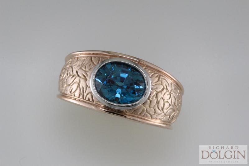 Blue Zircon in Rose Gold Ring
