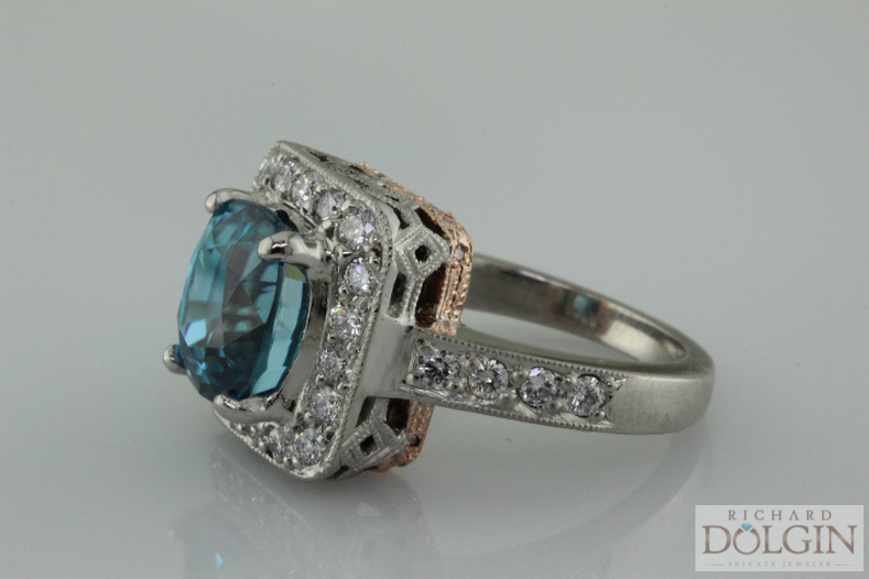 Blue Zircon in Palladium with Rose Gold Ring