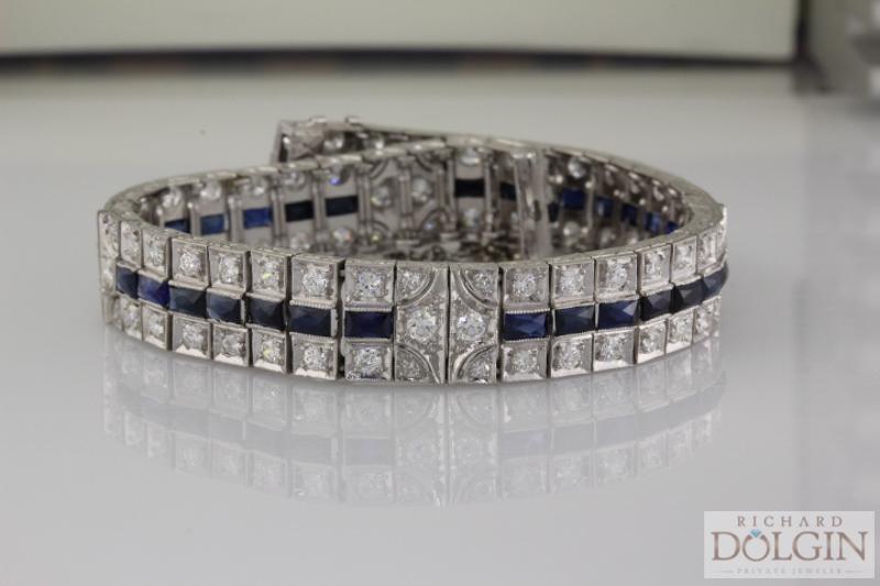 Antique Platinum Diamond and Sapphire Bracelet