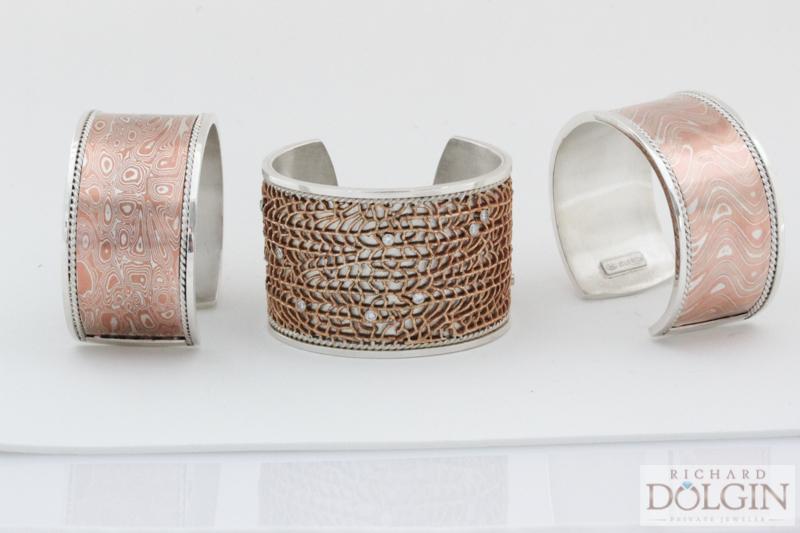 Mokume Gane and Fan Coral Cuff Bracelets