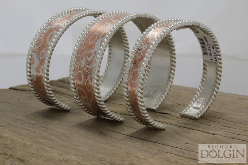 Slender Mokume Gane Cuff Bracelets