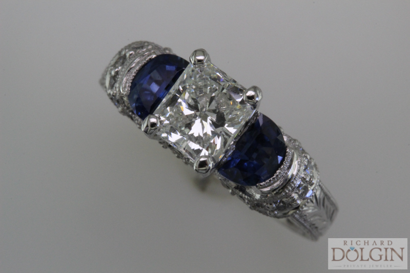 Radiant Diamond Ring With Sapphires